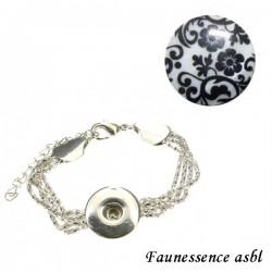 """Bracelet Click'on - bouton """"Fleur baroque"""""""