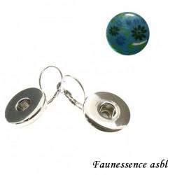 """Boucles d'oreilles Click'on - bouton """"Fleur turquoise"""""""