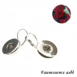 """Boucles d'oreilles Click'on - bouton """"Fleur rouge"""""""