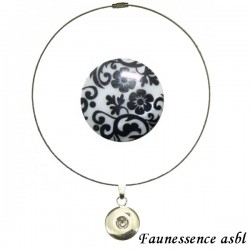 "Collier Click'on - bouton ""Fleur baroque"""