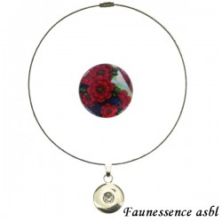 "Collier Click'on - bouton ""Fleur rouge"""